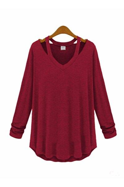 Kadın  Bordo V Yaka Japon Style Bluz 10269 10269