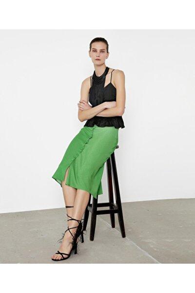 Kadın Yeşil Puantiye Desen Etek