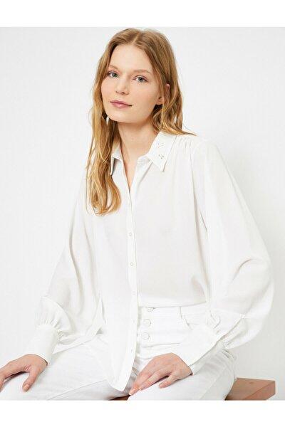 Kadın Ekru Yaka Detaylı Gömlek