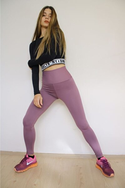 Mor Toparlayıcı Yoga Süper Esnek Extra Yüksek Bel Tayt