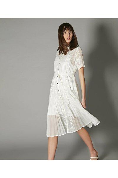 Kadın Beyaz Pilise Mixli Elbise IS1200002486096