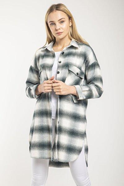 Kadın Haki Ekose Desenli Cepli Yırtmaçlı Tunik Gömlek