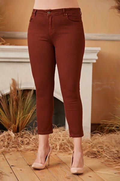 Kadın Kiremit Büyük Beden Pamuk Pantolon