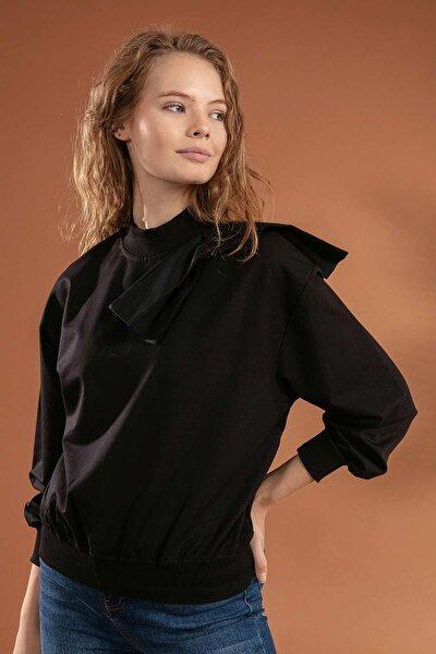Kadın Fiyonk Detaylı Dik Yakalı Sweatshirt 39812