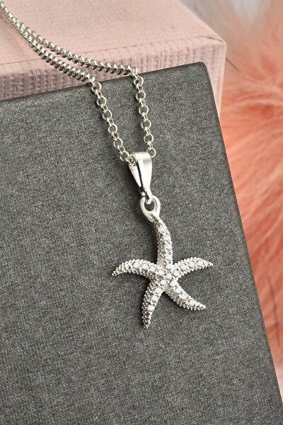 Deniz Yıldızı Model Zirkon Taşlı Gümüş Kolye