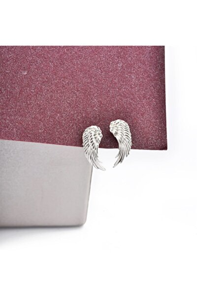 Melek Model Işlemeli Gümüş Çivili Küpe