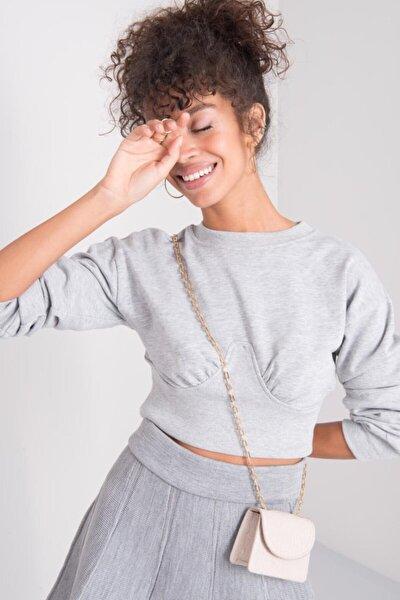 Kadın Gri Crop Sweatshirt