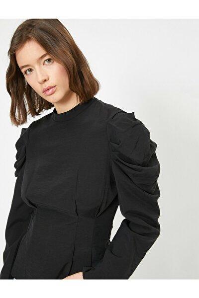 Kadın Siyah Volanli Bluz 0YAK68741PW