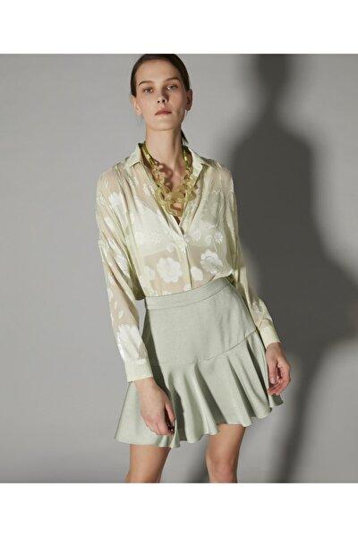 Kadın Yeşil Over Size Transparan Gömlek