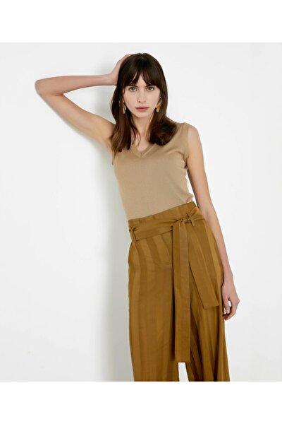 Kadın Haki Kuşaklı Yüksek Bel Pantolon