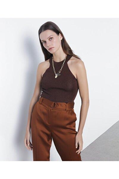 Kadın Kahverengi Tarçın Metalik Örme Triko IS1200050081048