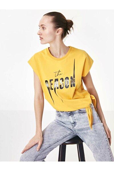 Kadın Turuncu Baskı Üzeri Payet İşli Tişört