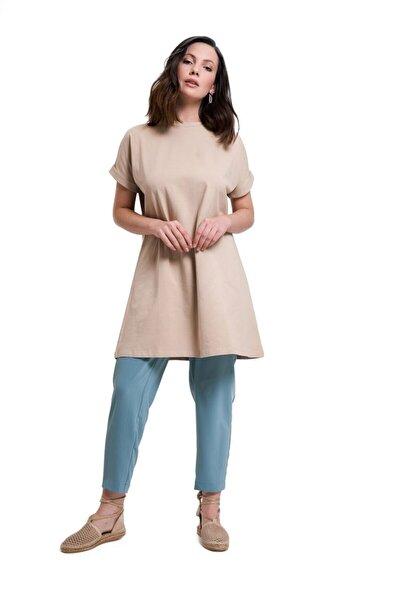 Kadın Kol Katlamalı Tunik T-shirt