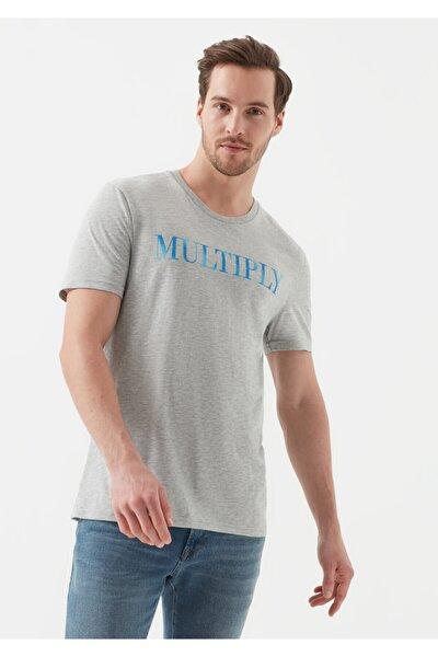 Multıply Baskılı Açık Gri Tişört