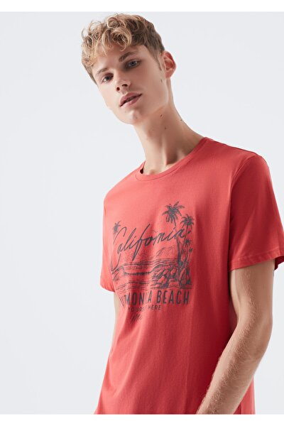 Santa Monica Baskılı Kırmızı Tişört