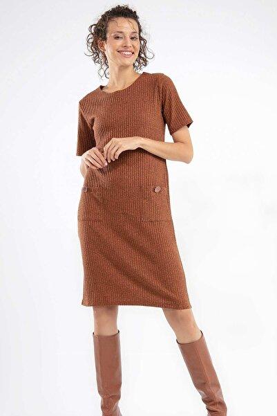 Kadın Kısa Kol Cepli Elbise 38571