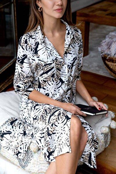 Kadın Beyaz Desenli Önden Düğmeli Gömlek Tunik Elbise