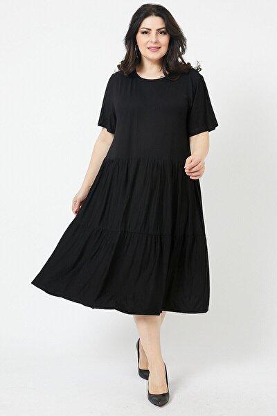 Kadın Siyah Büyük Beden Katlı Büzgülü Lı Viskon Elbise