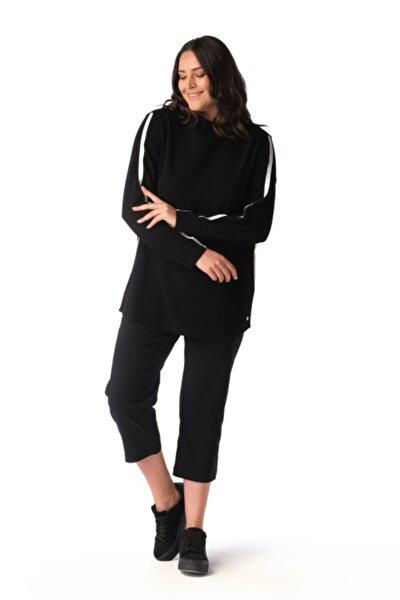 Kadın Siyah Şerit Detaylı Sweatshirt