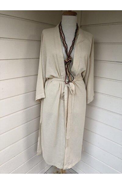 Kadın Bej Keten Kimono