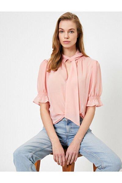 Kadın Pembe Tül Detayli Bluz