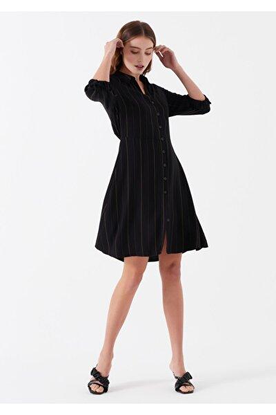 Kadın Çizgili Siyah Elbise