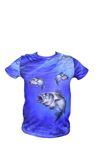 Unisex Mavi Balık Resimli Dijital T-Shirt