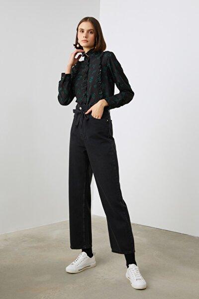 Siyah Fırfırlı Bluz TWOAW21BZ1146