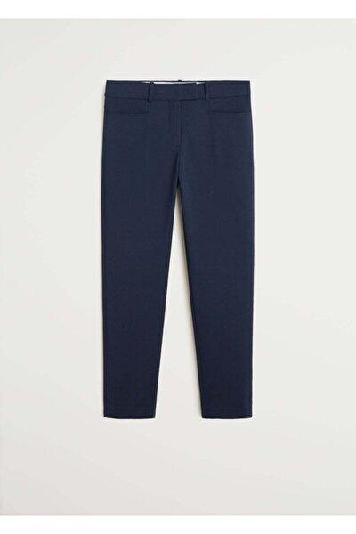 Kadın Lacivert Kısa Koton Pantolon