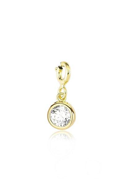 Yuvarlak Kesim, Swarovski Zirkon Beyaz Yuvarlak Taşlı, Altın Rengi Gümüş Charm