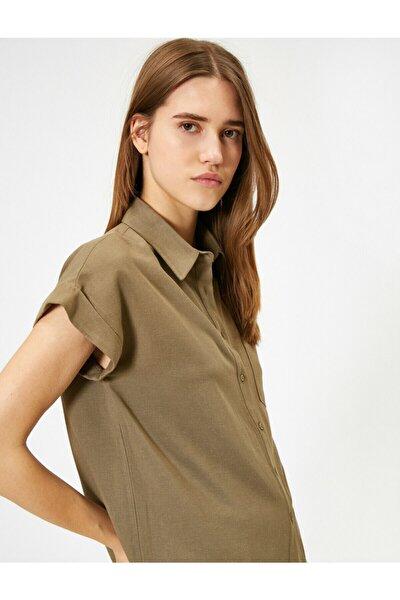Kadın Kahve Cep Detayli Gömlek