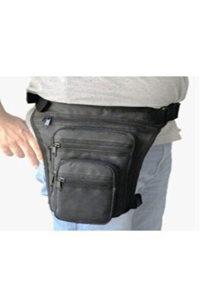 Unisex Siyah Motosiklet Bel Bacak Çanta