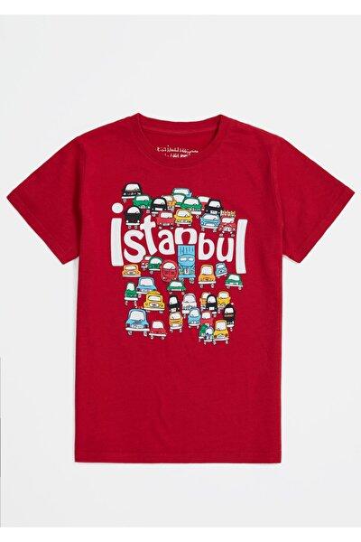 Unısex Çocuk Kırmızı Arabalar İstanbul T-Shirt