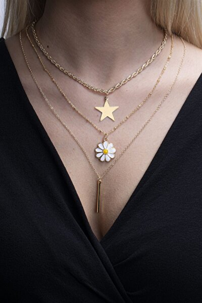 Kadın Altın Rengi Papatya Yıldız Ve Çubuk Figürlü Kombin Kolye 001