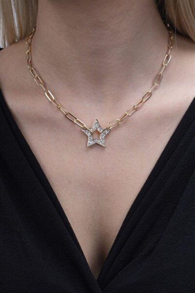 Kadın Altın Rengi Yıldız Figürlü Kolye 029