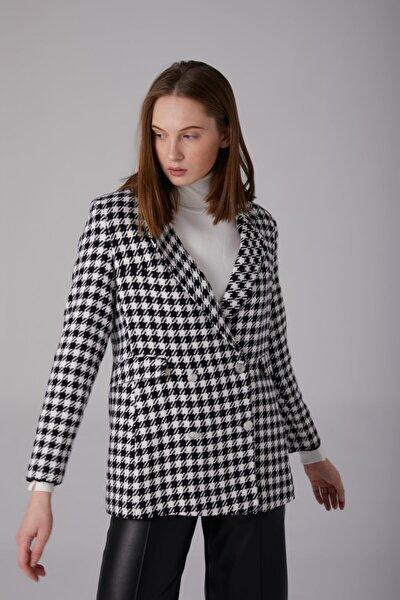 Kadın  Siyah Kaz Ayağı Desenli Blazer Ceket