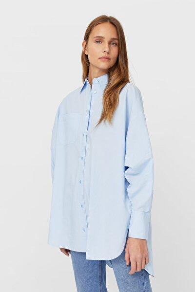 Kadın Açık Mavi Oversize Poplin Gömlek 06181490