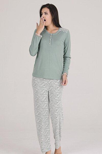 Kadın Yeşil  Örme Pijama Takımı