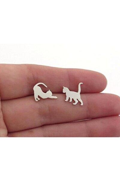 Kedi Figürleri Gümüş Küpe