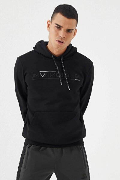 Erkek Invıncıble Nakışlı  Kanguru Cepli Sweatshirt