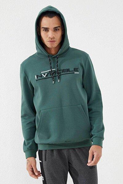 Erkek Yeşil Kanguru Cepli Sweatshirt