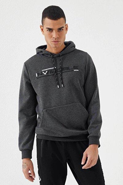 Erkek Antrasit Invıncıble Nakışlı Melanj Kanguru Cepli Sweatshirt