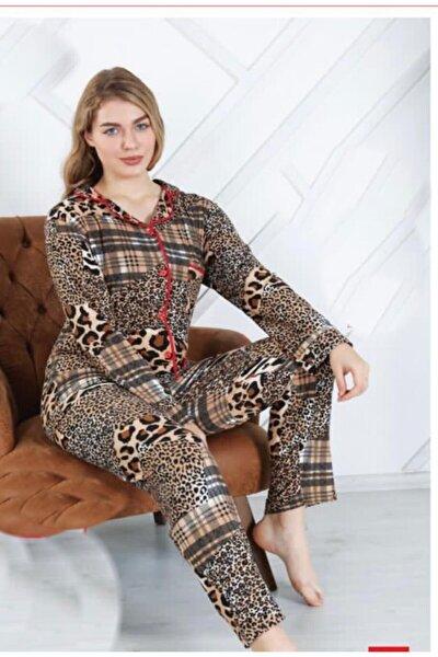 Kadın  Süet Likralı Leopar Desenli Pijama Takımı
