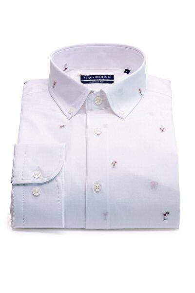 Erkek Beyaz Kokteyl Desenli Fil Yaka Düğmeli Fit Gömlek