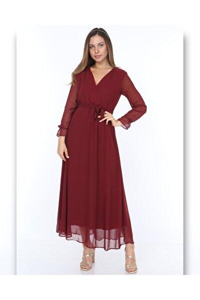 Kadın Bordo Düz Şifon Elbise