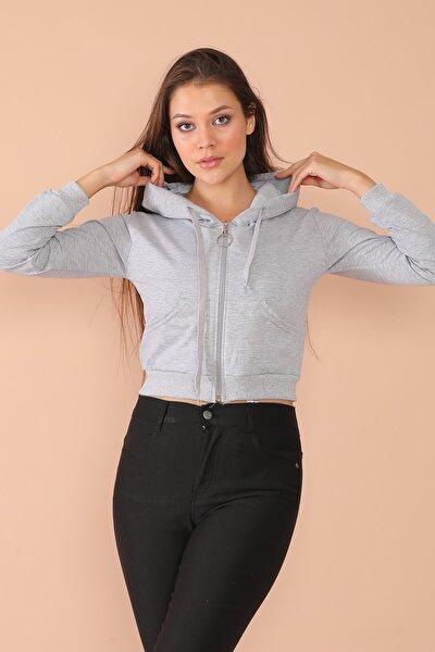 Kadın Gri Kapşonlu Fermuarlı Sweaters 58nv1002r1b04