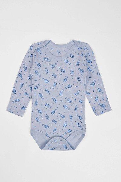 Unisex Bebek Mavi Çıtçıtlı Uzun Kollu Body