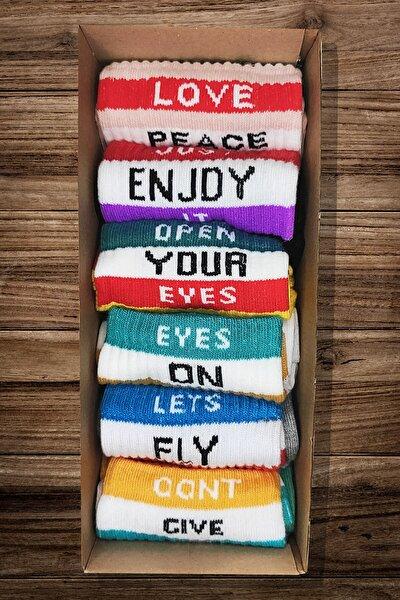 Yazılı Renkli Tasarım Desenli Çorap 6 Lı Paket
