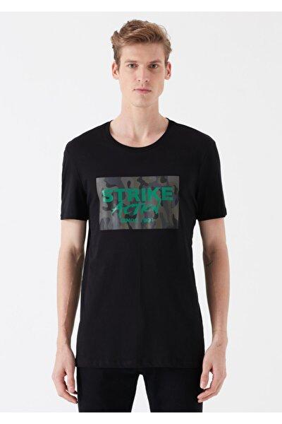 Strike Baskılı Siyah Tişört