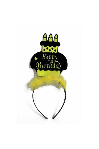 Sarı Happy Birthday Parti Tacı
